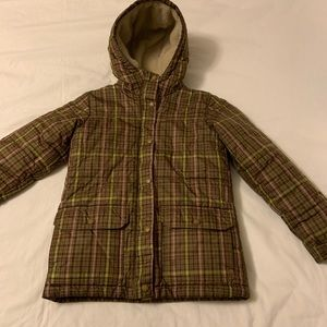 Lands End Brown Plaid Fleece Lined Puffer Coat 7-8